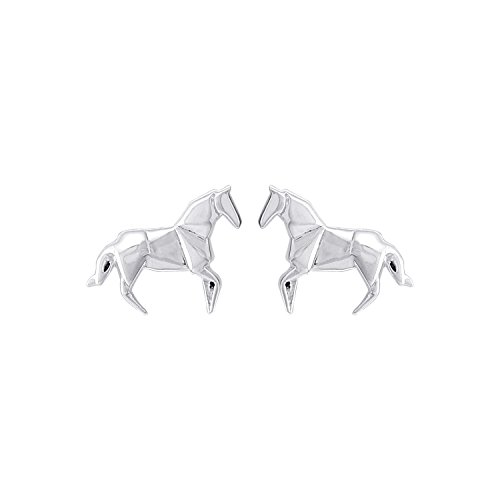 Boma Jewelry Sterling Silver Origami Horse Stud Earrings