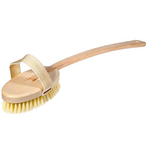 Sidco - Spazzola da bagno in legno, per massaggi, schiena e sauna, con manico rimovibile, 45 cm