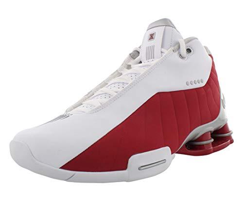 Nike Mens Shox BB4 Basketball Shoes (10, White/Metallic Silver/Varsity Red)