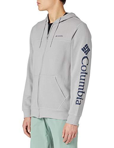 Columbia Hoodie mit durchgehendem Reißverschluss für Herren, M Columbia Logo, Grau (Columbia Grey Heather), L, 1889164