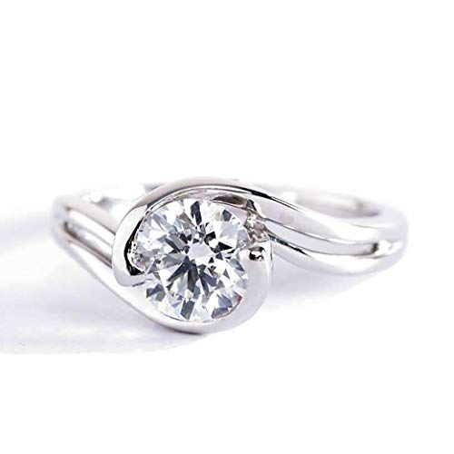 Anillo de compromiso de platino con diamante solitario redondo SI2 D contemporáneo de 1 quilate