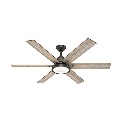 "Hunter Warrant Indoor Ceiling Fan with LED Light, 60"", Nobel Bronze"