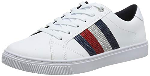Tommy Hilfiger Crystal Leather Casual Sneaker, Zapatillas para Mujer, White 100, 38 EU