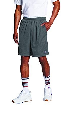Champion Pantalón corto de malla de 9 pulgadas para hombre, logotipo en C, Gris grafito, Medium
