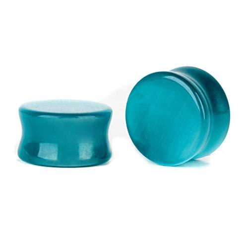 2 piezas expansor de oreja Piercing de oreja de piedra opalita tapones para los oídos túneles medidores expansor Piercing para el cuerpo joyería-Azul_10 mm