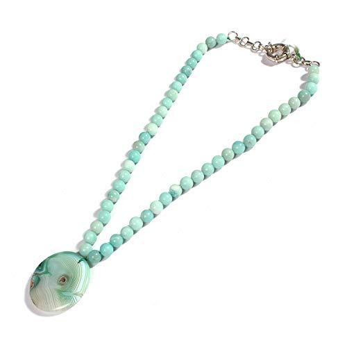 eGemCart Collar de Perlas Redondas Lisas de 8 mm de Amazonita Azul Cielo Natural con Colgante de ágata Natural Verde Redonda para Mujer Collar de Perlas de Piedras Preciosas Cuentas de Calidad