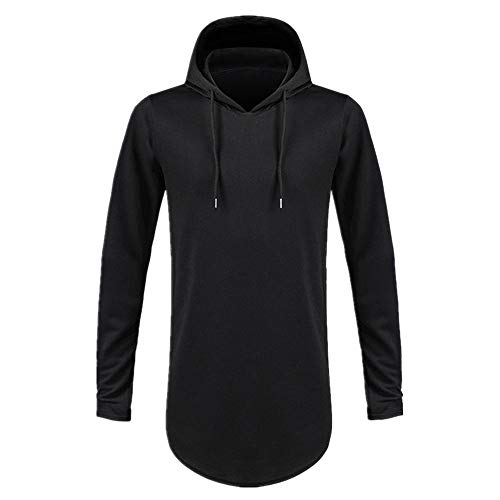 Camiseta de manga larga con capucha de color sólido para hombre