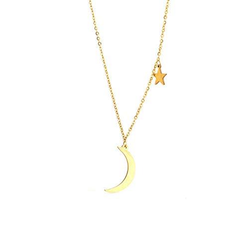 EDCV roestvrijstalen kettingen damesketting mode gouden en zilveren kleur maan ster sleutelbeen ketting kettingen voor vrouwen trui ketting, N010092