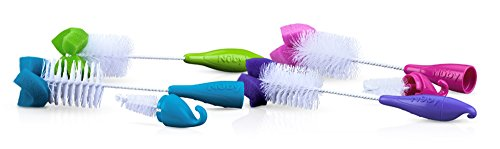 Nuby 2-Pack Bottle and Nipple Brush with Sponge Tip, Colors May Vary