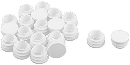 DealMux pl/ástico redondo plana Tipo Presidente pata de la mesa cubierta del protector de tapas de los tubos de inserci/ón de 25 mm Dia 20pcs Blanca