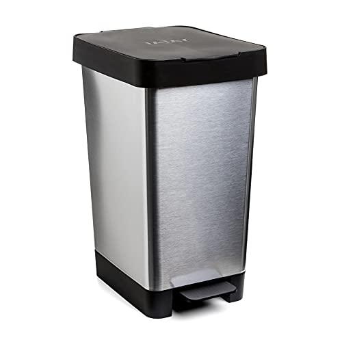 Tatay 1021301 - Cubo de pedal smart, 25 l de capacidad, pedal retráctil, polipropileno, libre de BPA, bolsa basura 30 L, color gris metalizado, medidas 26 x 36 x 47cm