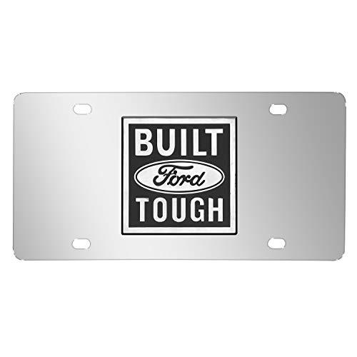 Ford Built Tough Logo On Chrome Polished License Plate