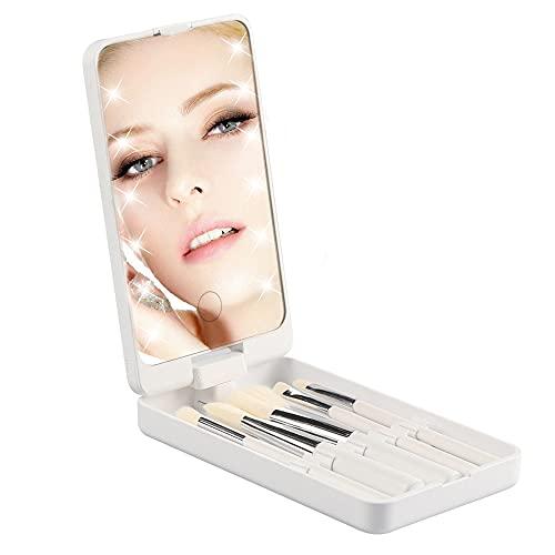 Miroir de maquillage à LED avec ensemble complet de pinceaux, mini miroir portable compact pour pinceaux de maquillage, étui de voyage (blanc)