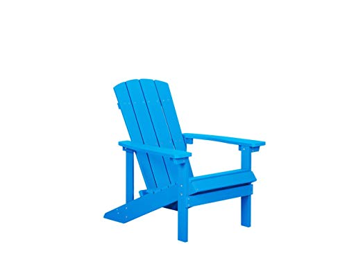 Beliani Moderner Muskoka Gartenstuhl in Blau mit Breiten Armlehnen Adirondack