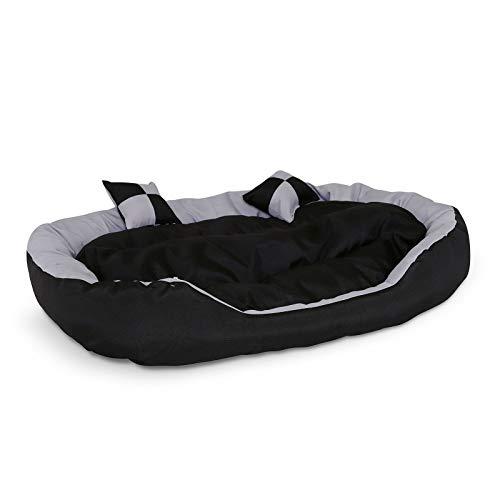 dibea 4-in-1 hondenbed, hondenkussen, hondenmand met omkeerbare kussen, zwart/grijs, maat L