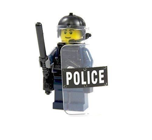 Custom Polizist aus LEGO® Teilen und Custom Zubehör blau Waffe Helm Schild