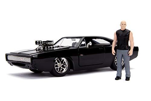 Jada Toys Fast & Furious Dom's 1970 Dodge Charger Street, Auto, Tuning-Modell im Maßstab 1:24, zu öffnende Türen, Kofferraum & abnehmbare Motorhaube, Freilauf, inkl. Dominic Toretto Figur, schwarz