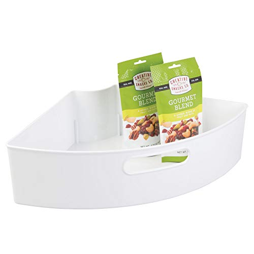 iDesign 62631 Plastic Lazy Susan Cabinet Storage Bin, 1/4 Wedge Container for Kitchen, Pantry, Counter, BPA-Free, 16.5