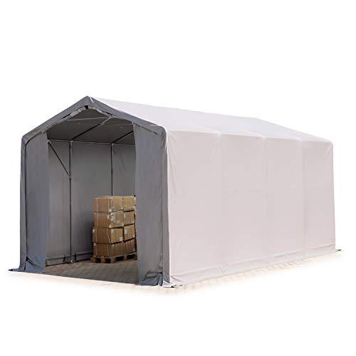 TOOLPORT Zelthalle 4x8m / 3m Seitenhöhe Garage Industriezelt Lagerhalle Plane ca. 550 g/m² PVC wasserdicht in grau
