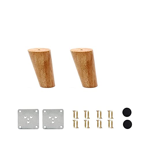 LASHI 2 Pcs Wooden Furniture Legs Height 6-70CM, Oblique Tapered Wooden Sofa Legs Cabinet Feet Wood Table TV Legs with Non-slip Mat, Screws & Mounting Plate (Size : 20cm/7.9in)