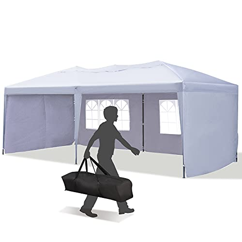 Outsunny 10' x 20' Heavy Duty Pop Up Canopy Party Tent with 4 Removable Sidewalls, Outdoor Cabana Gazebo with Carry Bag, Weather Protection (White)
