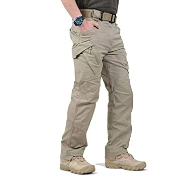 LELEBEAR 2021 Upgraded Tactical Waterproof Pants Men s Water Repellent Ripstop Tactical Cargo Pants for Combat Hiking Outdoor Survival Camping  Khaki X-Large x_l
