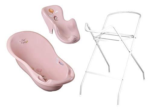 3er Set Baby-Badewanne Set ergonomische Babywanne 86 cm + Ständer Gestell + Badesitz Badewannensitz (rosa)