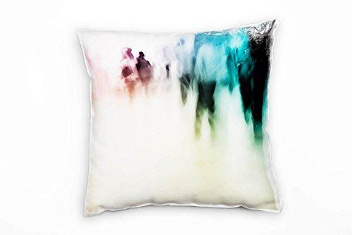 Paul Sinus Art Urban, blauw, roze, abstract, onscherp, decoratief kussen voor op de bank, bank, bank, lounge, sierkussen, decoratie om je goed te voelen