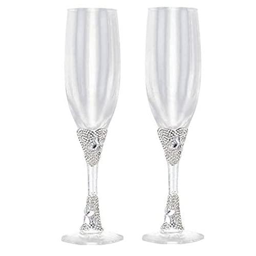 2 UNID/SET CREATIVE REGALO NOMBRICO Y NO GROER Champagne Flautas Conjunto de gafas de boda Copa Tostado Cubilete Inicio Home Decoración del hotel (Color : White)
