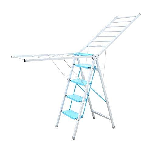noyydh Folding Ladder 4 Steps Home Multifunzione Flower Rack Stendino Indoor Sky Blue Portatile 41.3x28x19.3in