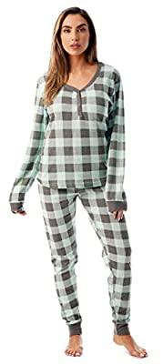 #followme Buffalo Plaid 2 Piece Base Layer Thermal Underwear Set for Women 6372-10195-NEW-MNT-M