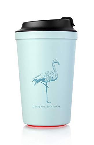 ArtiArt Grün-Flamingo Coffee to Go Becher, mit Magic Grip Pad, Kippt Nicht um, Umweltfreundlich 340 ml.