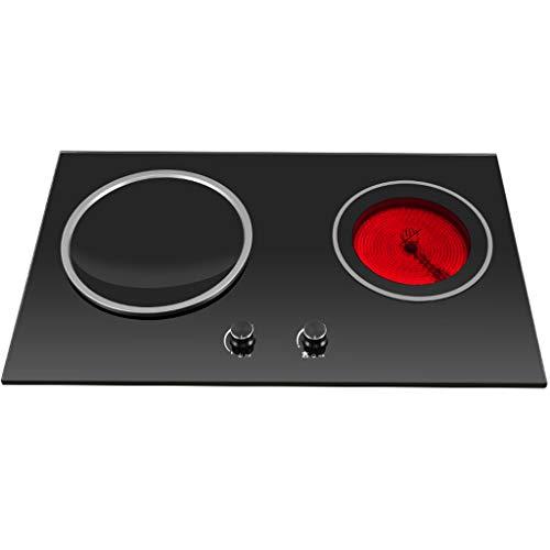 Cuisinière électrique double Cuisinière double encastrée 2500W, 2 plaques à induction, grande cuisinière encastrée de type tactile et à bouton, panneau microcristallin facile à nettoyer, chauffage v