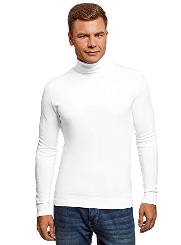 oodji Ultra Hombre Jersey Básico de Algodón, Blanco, ES 50 / M