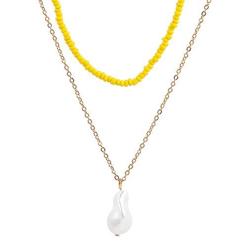 ZYYXB Collar de mujer con múltiples capas de borla en forma de perla colgante collar de perlas de imitación para boda fiesta joyería collar con perlas de joyería, amarillo
