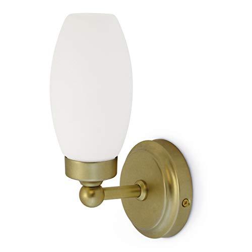 EXO Lighting - Wandlamp voor de badkamer IP44 Bath Classic staal in mat goud en opaalglas met lamphouder E14