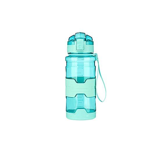 Jusemao Botella deportiva antideslizante anti-caída Copa espacial con cubierta de rebote botella de agua portátil 500ml-verde_500ml