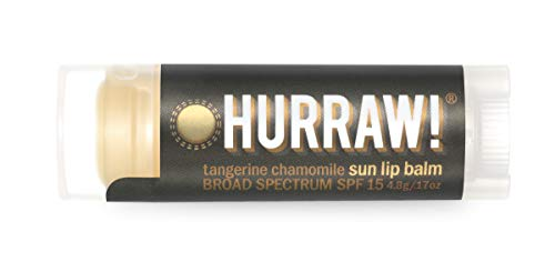 Hurraw! Sun Lip Balm (Zinc Oxide Protection, Broad Spectrum SPF 15, Tangerine, Chamomile): Organic, Certified Vegan, Gluten Free. Non-GMO, 100% Natural. Bee, Shea, Soy and Palm Free. Made in USA