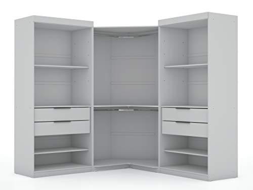 Manhattan Comfort Mulberry Modern Open 3 Sectional Wardrobe Corner Closet with 4...