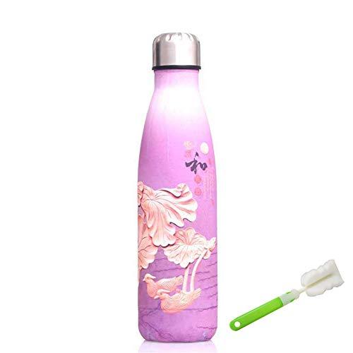 Botellas De Acero Inoxidable para Agua Botella Agua Acero Inoxidable Pequeña Botella de Agua Lindo Botella de Agua Botella de Agua Reutilizable Purple,500ml