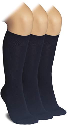 Hugh Ugoli Calcetines escolares de bambú para niños | Calcetines de uniforme escolar hasta la rodilla para niñas y niños | Costuras cómodas, 3 pares, Azul marino, 3 Años/4 Años