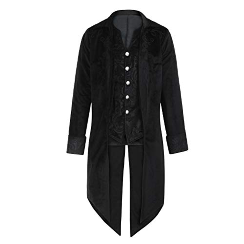 KEERADS Herren Vintage Frack Steampunk Gothic Jacke Viktorianischen Langer Mantel Fasching Karneval Cosplay Kostüm Smoking Jacke Uniform