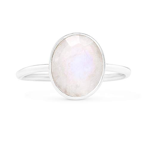 Koral Jewelry Cut Oval Moonstone Ethnic Delicate Ring 925 Sterling Silver Vintage Tribal Gipsy Boho...
