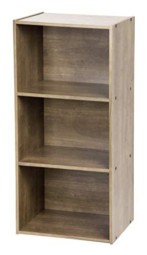 Iris Ohyama Meuble/Étagère de rangement modulable, 3 compartiments - Basic Storage Shelf CX-3 - Bois, Brun cendré, L41.5 x P29 x H88 cm 531568