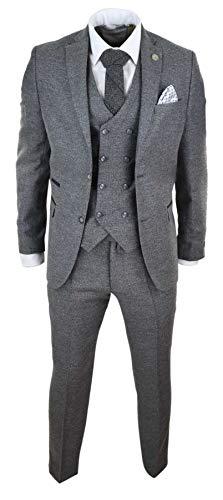 """TruClothing.com Herrenanzug 3 Teilig Tweed Design Peaky Blinders 1920 Stil Wollenanteil - grau 58EU/48UK Sakko- 42\"""" Taille"""
