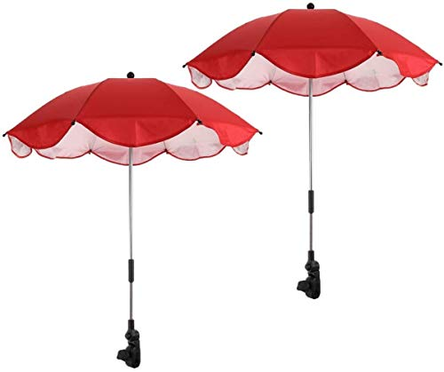 Sonnenschirm zum Anklemmen für den Außenbereich, groß, mit verstellbarer fester Klemme, 2 Stück (rot)