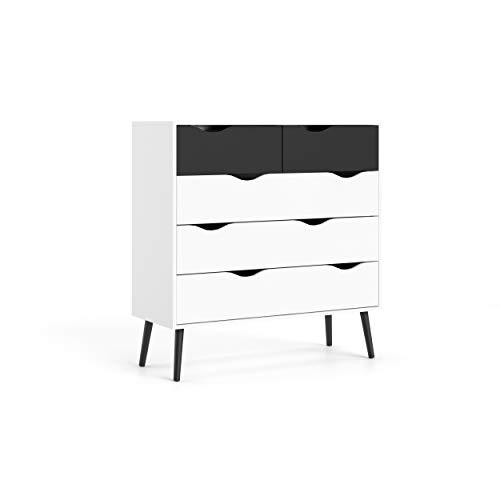 Dmora Cassettiera a Cinque cassetti, Colore Bianco e Nero, cm 98 x 100 x 40