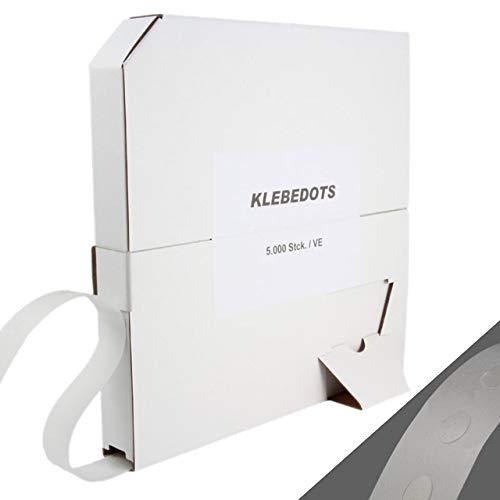 Klebedots 5000 Stück Ø ca. 9 mm im Spender, doppelseitige transparente Klebepunkte in verschiedenen Klebestärken/mittel haftend, ablösbar