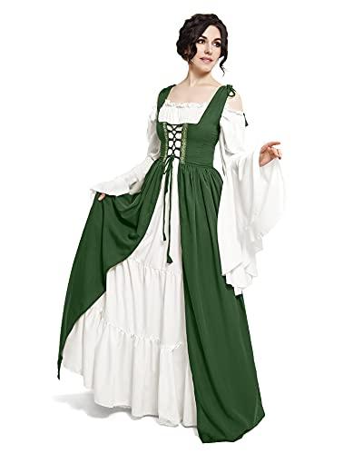 Mythic Renaissance Medieval Irish Costume Over Dress & Cream Chemise Set (L/XL, Hunter Green)