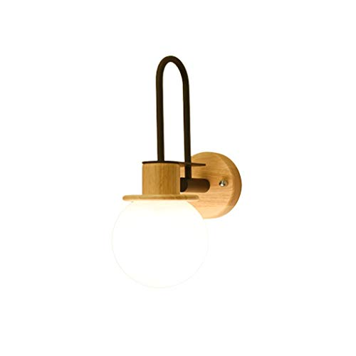 Massieve eenvoudige wandlamp van hout LED wandlamp hoofdlamp slaapkamer balkon hal hout wandlamp LED geschikt voor E27 fontein